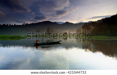 beautiful reflection and see the boats on the lake,,West Java Indonesia