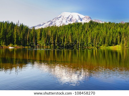 Beautiful reflection lake in mount rainer - stock photo
