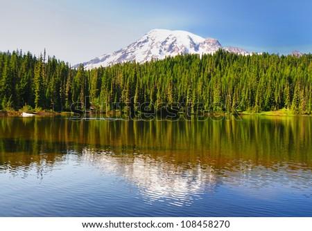 Beautiful reflection lake in mount rainer - stock photo