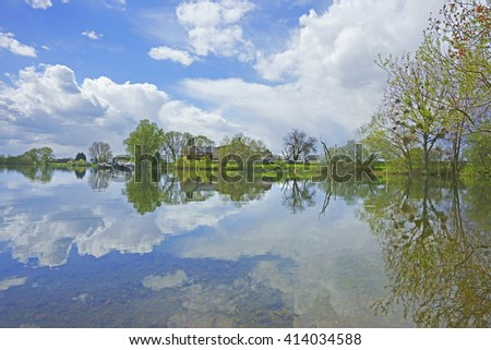 Beautiful reflections on the Lakes at Frampton on Severn in Spring, Gloucestershire, England, UK - stock photo