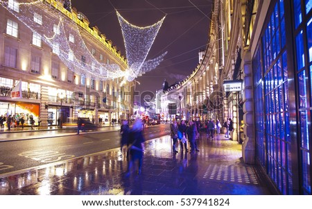 Beautiful Regent Street in London decorated at Christmas Time 2016 - LONDON / ENGLAND - DECEMBER 10, 2016