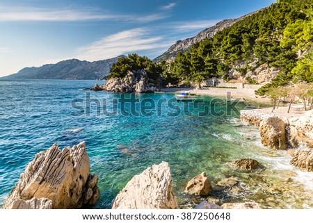 Beautiful Remote Bay On Makarska Riviera- Podrace, Makarska, Dalmatia, Croatia - stock photo