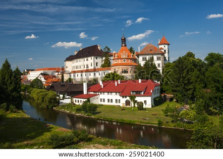 Beautiful renaissance era castle with Roundel pavillon in Jindrichuv Hradec was built in 16th century and is located on the hill near the river Nezarka. Czech Republic - stock photo