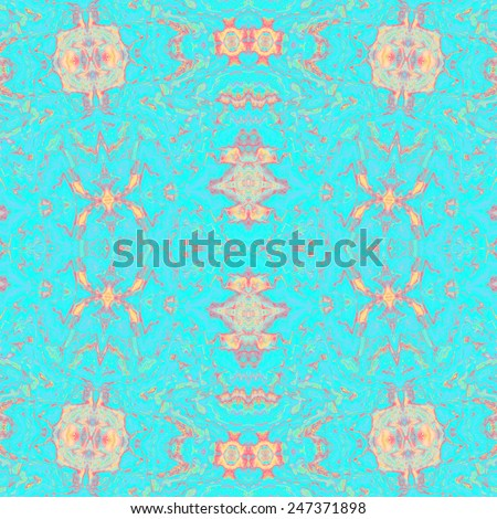 Beautiful repeating kaleidoscopic blue red ornament for design - stock photo