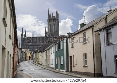 beautiful residential street scene in kilkenny city ireland - stock photo