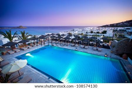 Beautiful resort in the Greek Islands - stock photo