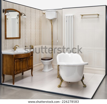 Beautiful retro bathroom built in the showroom  The bathroom has a shower   toilet and. Bath Showroom Stock Photos  Royalty Free Images   Vectors