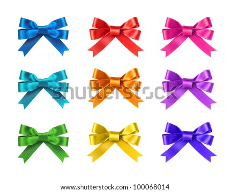Beautiful ribbon bows: green, red, pink, blue, gold, yellow, purple  - all colors collection. Isolated on white background. - stock photo
