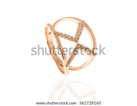 beautiful ring with diamonds isolated on white... - stock photo