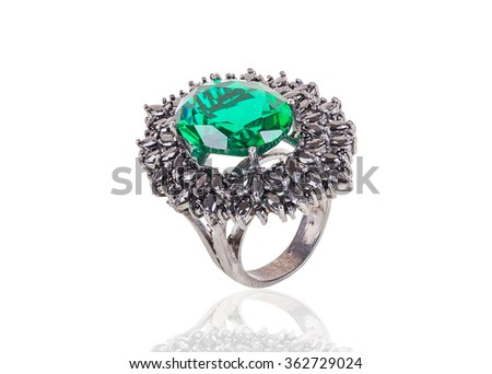 beautiful ring with gems and enamel isolated on white