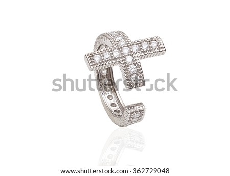 beautiful ring with gems and enamel isolated on white - stock photo