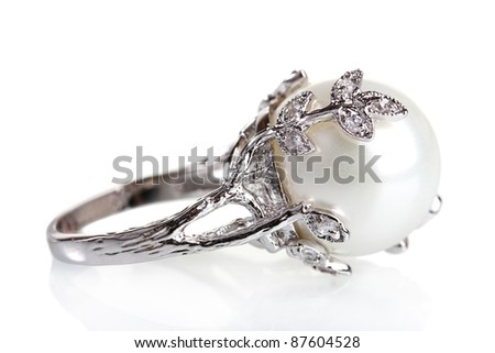 beautiful ring with pearl isolated on white - stock photo