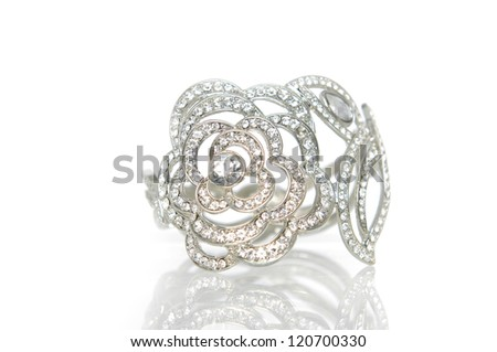 beautiful ring with precious stone isolated - stock photo