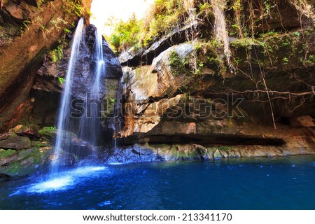 Beautiful river and cascade in a canyon in Isalo national park, Madagascar - stock photo