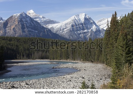 Beautiful River flowing through the pine forests of Banff National Park in Alberta Canada - stock photo