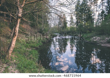 beautiful river in forest with reflections and trees on both sides of the stream - vintage film effect