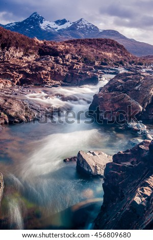 Beautiful River in Scotland on the Isle of Skye - stock photo