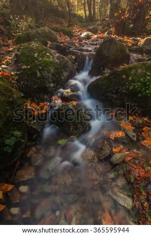 Beautiful river mountain region in autumn season located on Monchique, Portugal. - stock photo