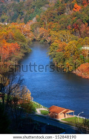Beautiful river near Sutton West Virginia in autumn  - stock photo