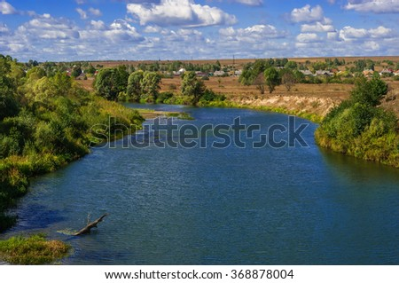 Beautiful river on the plain. Natural Park in central Russia. Zhizdra River. Kaluga region. - stock photo