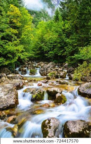 Beautiful river So?a running wild through rocks. So?a is the most known river of Slovenia.