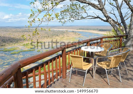 Beautiful river view from camping restaurant in Kruger national park, safari in South Africa  - stock photo
