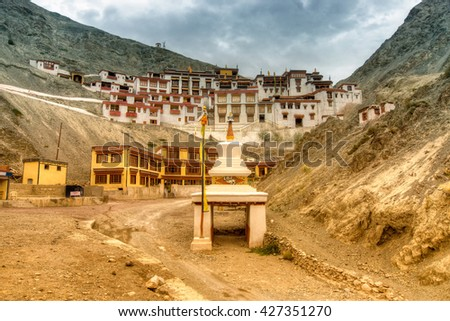 Beautiful Rizong monastery with view of Himalayan mountians - it is a famous Buddhist temple in,Leh, Ladakh, Jammu and Kashmir, India. Nice colourful stock image - stock photo