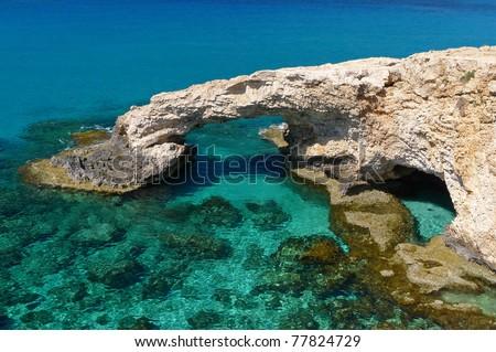 Beautiful rock arch near Ayia Napa on Cyprus island - stock photo