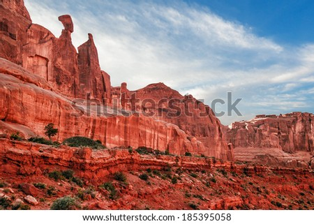Beautiful rock formations in Arches National Park, Utah, USA  - stock photo