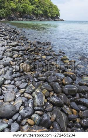 Beautiful rock on Koh Hin-ngam near Tarutao  national park and Koh Lipe in Satun, Thailand - stock photo