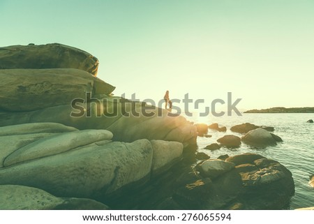 Beautiful rocky coastline in Greece - stock photo