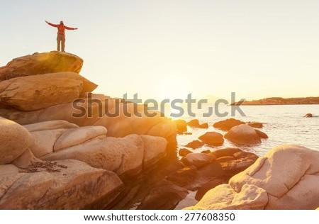 Beautiful rocky coastline in Greece - stock photo