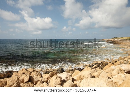 Beautiful rocky Mediterranean coast. Seascape
