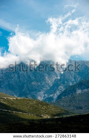 Beautiful rocky mountains with clouds in Albania