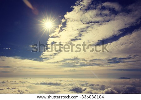 beautiful rolling clouds and sunset landscape - stock photo