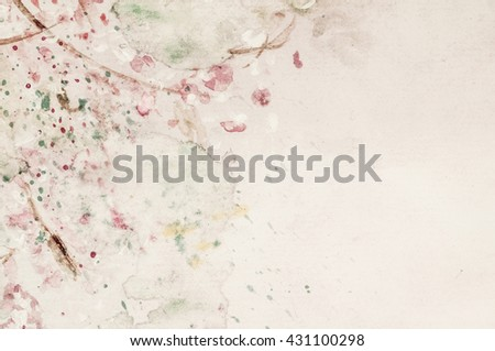 Beautiful romantic background, artistic texture with red stains,look like flowers. Watercolor. Ilustration. - stock photo