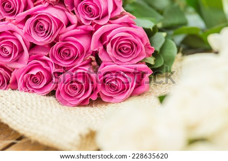 beautiful romantic bouquet of Ecuadorian pink roses - stock photo