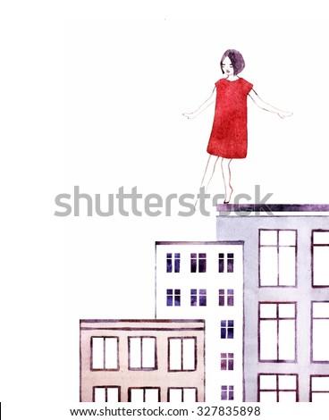 Beautiful romantic girl/cute girl/ illustration princess girl/ Cute beautiful  girl/design for children's books/happy and romantic girl graphic design - stock photo