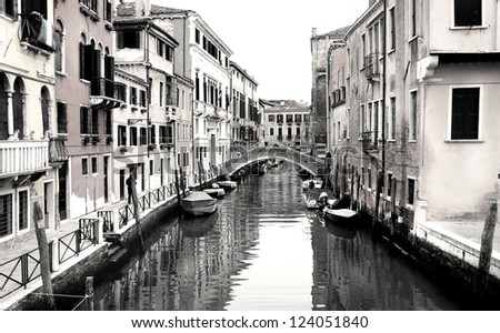 Beautiful romantic streets in Venice - stock photo