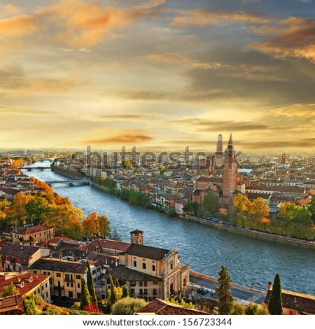 beautiful romantic Verona on sunset. Italy - stock photo