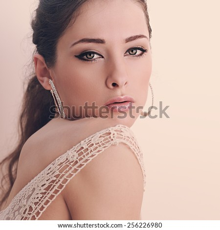 Beautiful romantic woman looking passion. Closeup instagram portrait - stock photo