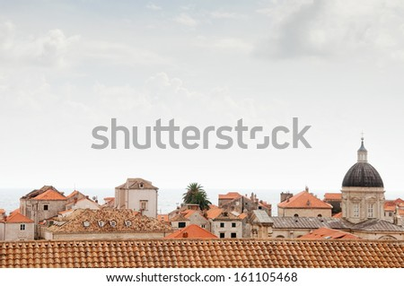 Beautiful roofs of old town in Dubrovnik - stock photo
