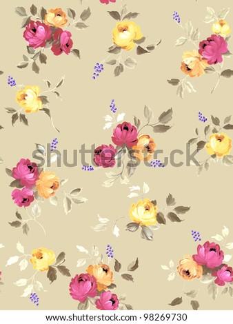 beautiful Rose bouquet pattern design - stock photo