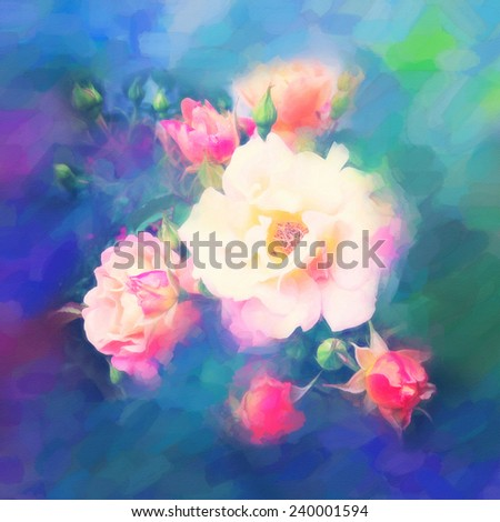 Beautiful rose flowers. Imitation of watercolor drawing
