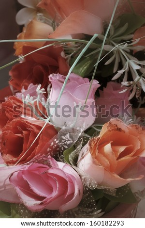 Beautiful rose of artificial flowers