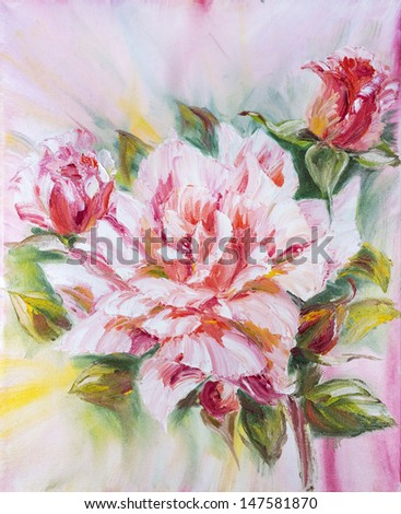 Beautiful rose, oil painting on canvas - stock photo