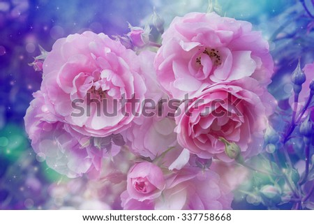 Beautiful roses artistic dreamy background with bokeh lights  - stock photo