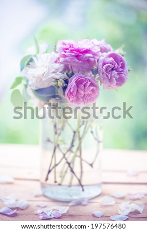 Beautiful Roses in a glass vase/summer flower background - stock photo