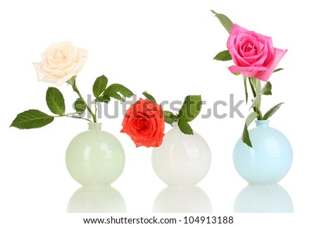 Beautiful roses in vases isolated on white - stock photo