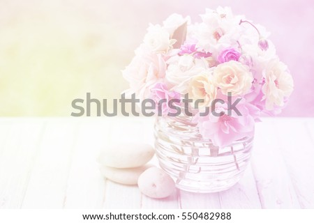 Beautiful roses on vintage background.